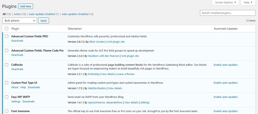 Pantalla de complemento de WordPress