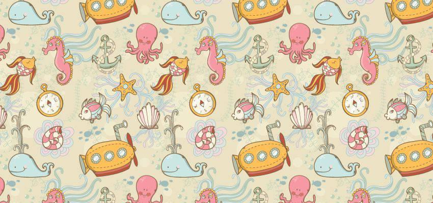 Tutorial de adobe illustrator como crear un patrón transparente submarino de verano