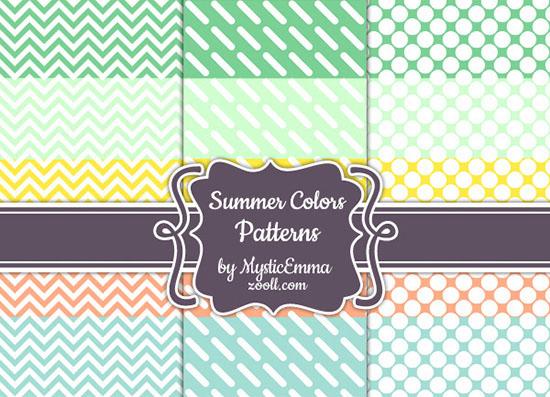 Vista previa de patrones de colores de verano