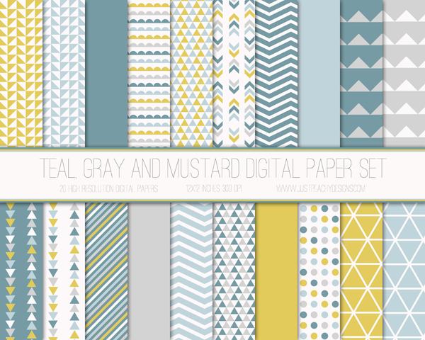 Papel digital mostaza, verde azulado y gris gratis