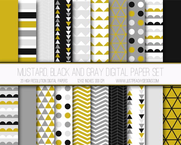 Papel digital mostaza, negro y gris gratis