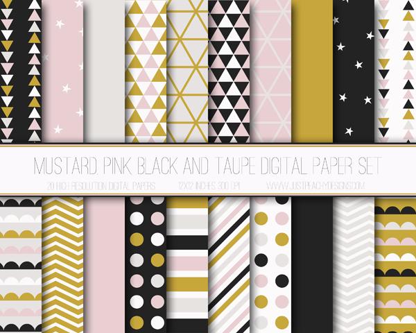 Papel digital gratuito: mostaza y rosa