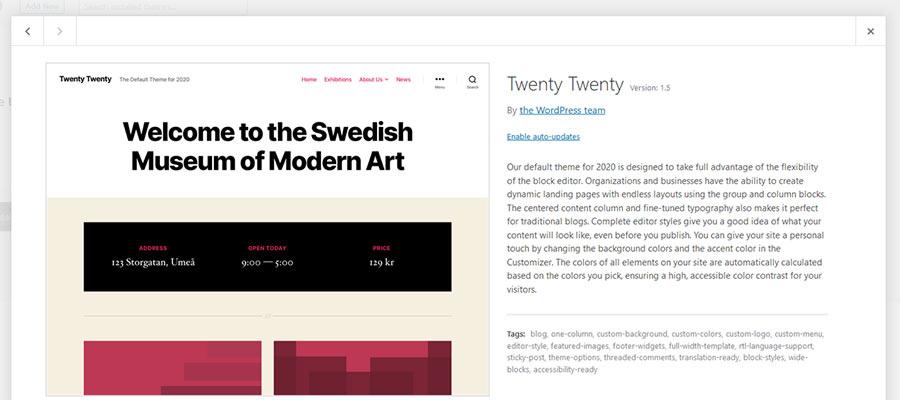Pantalla de tema de WordPress Twenty Twenty