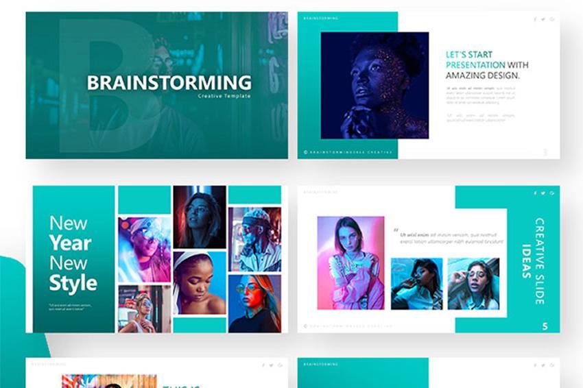 Presentación gratuita de Powerpoint de lluvia de ideas