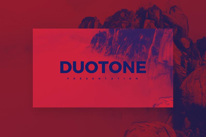 Plantilla gratuita de PowerPoint Duotone