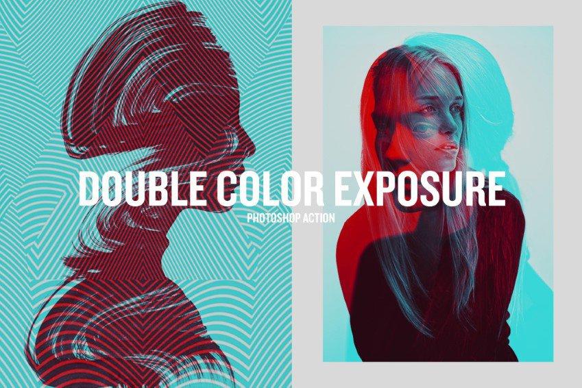 Acciones de Photoshop de exposición de doble color