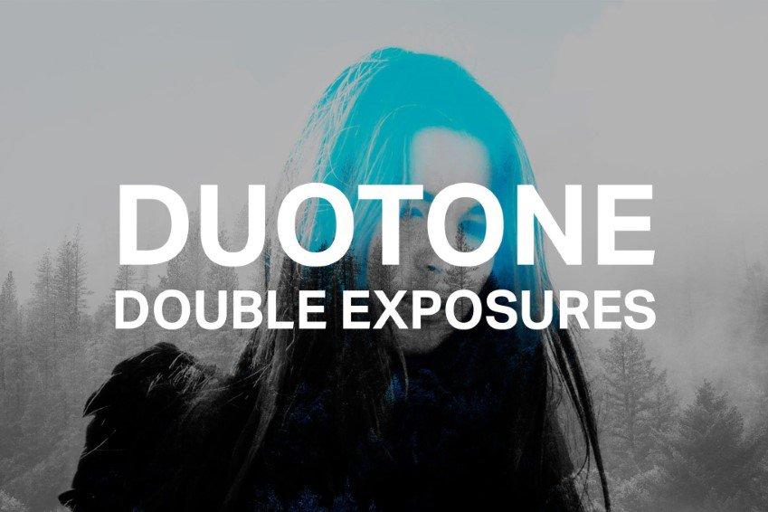 Acciones de Photoshop de doble exposición duotono