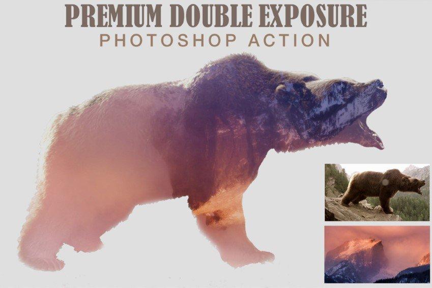 Acción de Photoshop de doble exposición premium