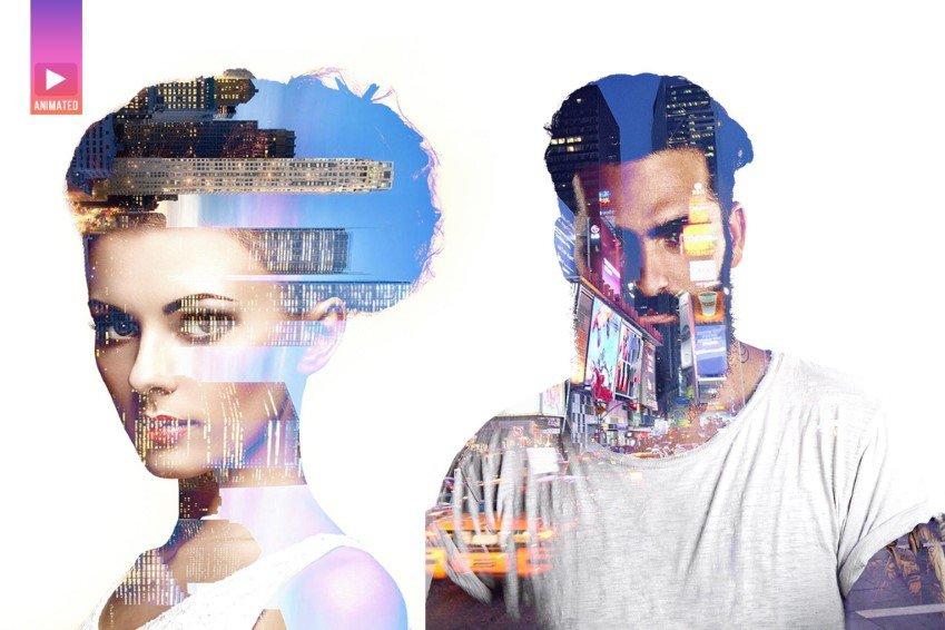 Acción animada de Photoshop de doble exposición Parallax