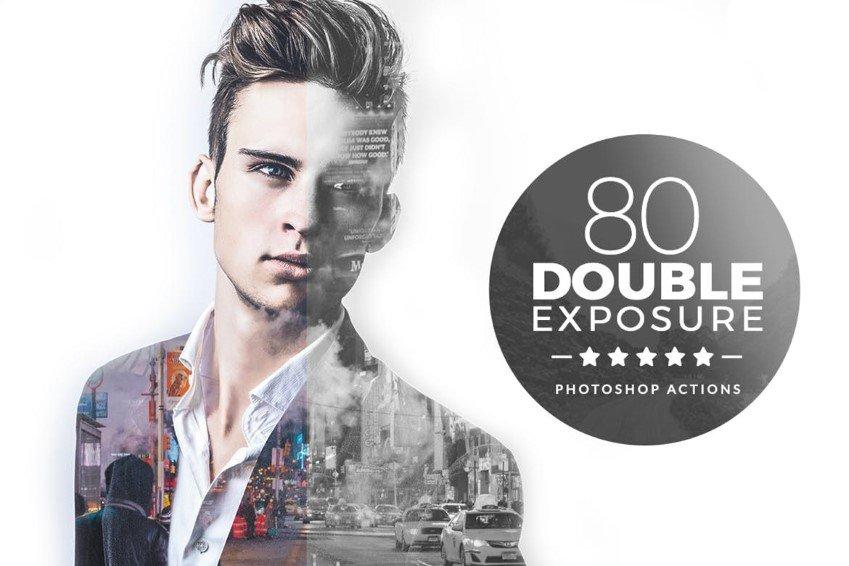 80 acciones de Photoshop de doble exposición