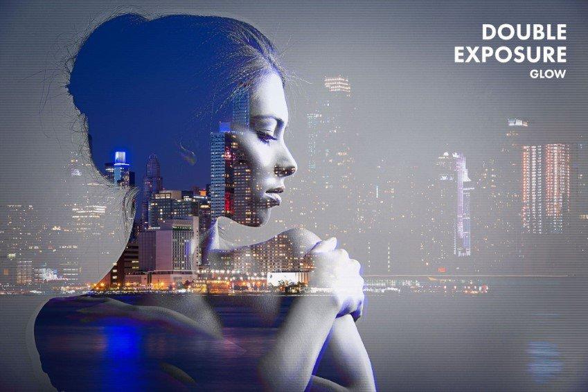 Acción de Photoshop con brillo de doble exposición