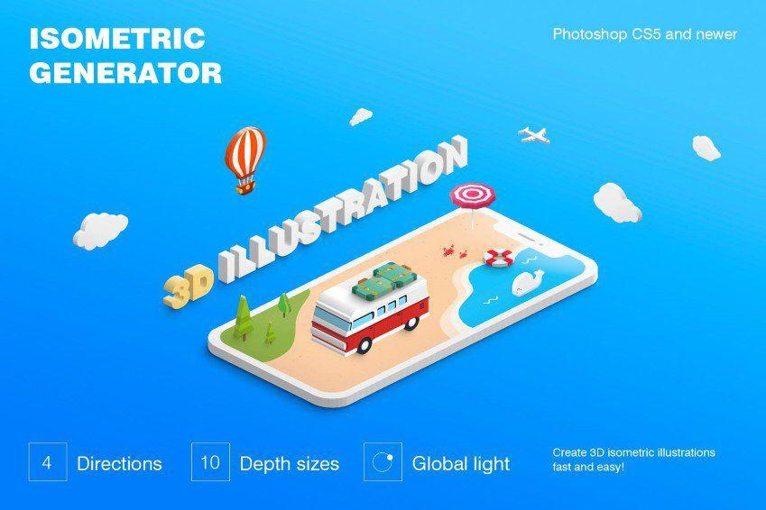 Ilustración isométrica 3D Photoshop Generator