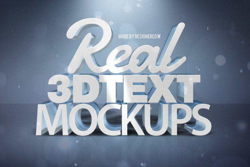 Acciones de Photoshop de maquetas de texto 3D reales