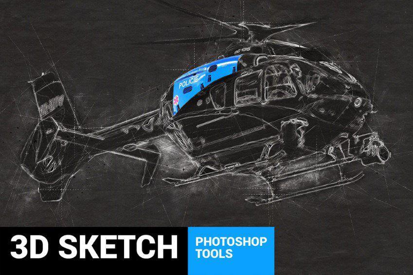 Conceptum 3D Sketch Acción de Photoshop