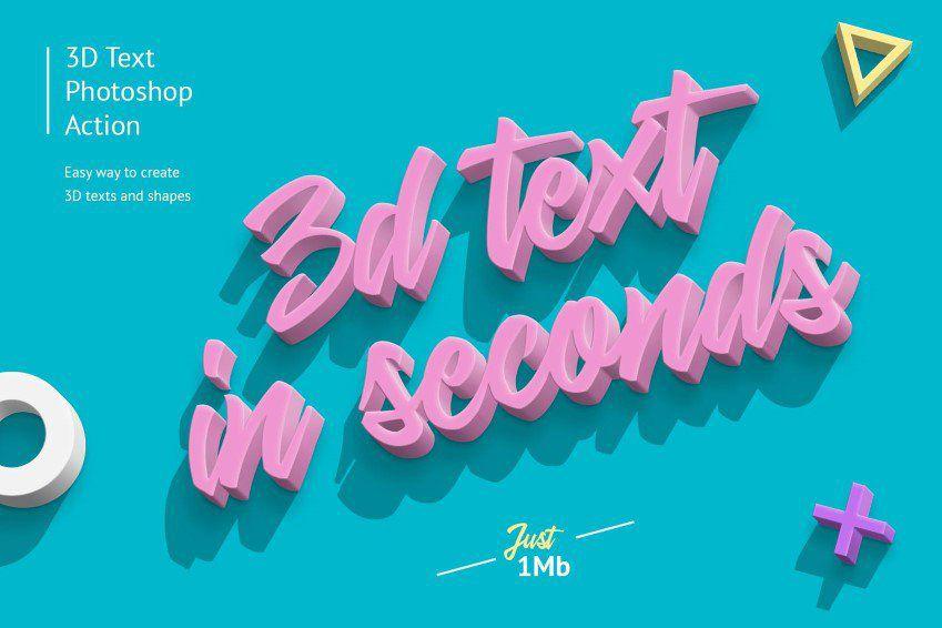 Acción de Photoshop con efecto de texto 3D