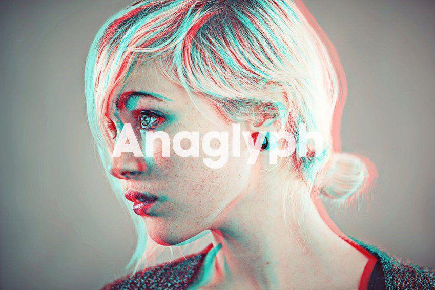 Acción de Photoshop 3D de anaglifo