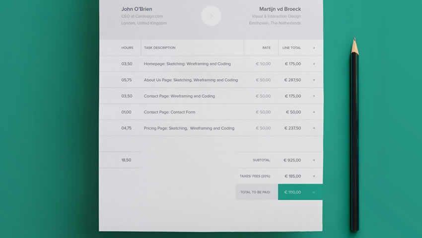 Plantilla de factura moderna INDD InDesign