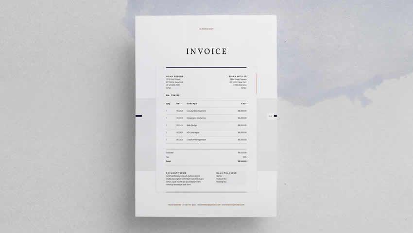 La factura de diseño InDesign INDD