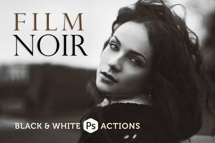 Acciones de Photoshop en blanco y negro de Film Noir