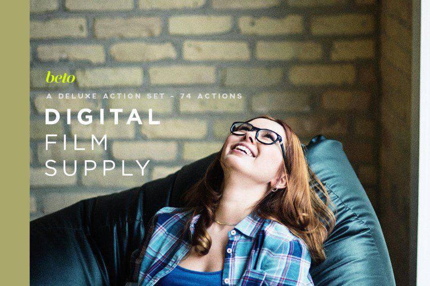 Paquete de acción de Photoshop de suministro de película digital