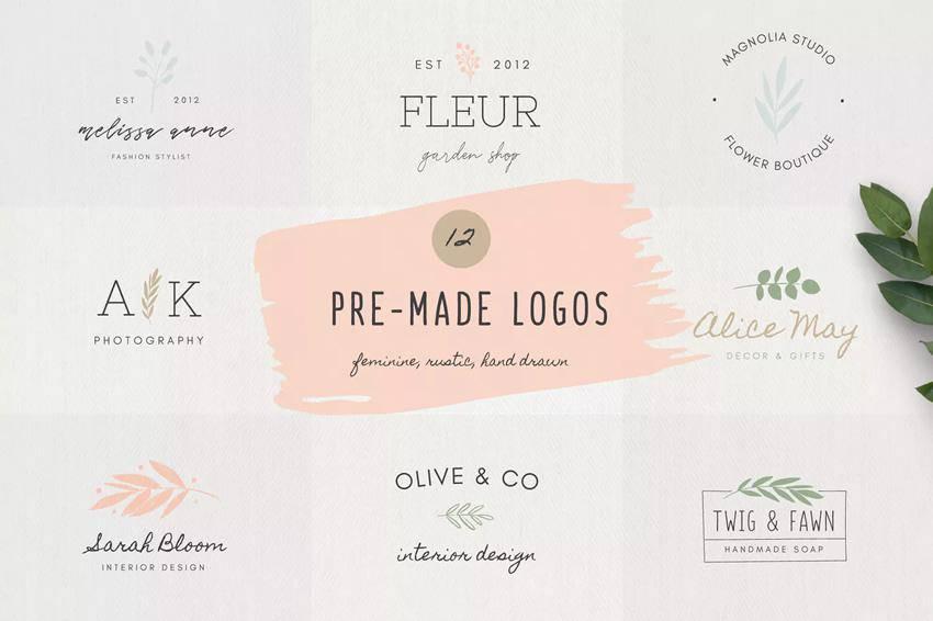 Plantillas de logotipos femeninos prefabricados