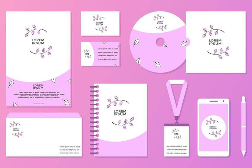 Plantilla de identidad corporativa femenina EPS SVG