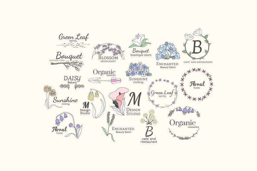 Plantillas vectoriales de logotipos femeninos florales AI EPS