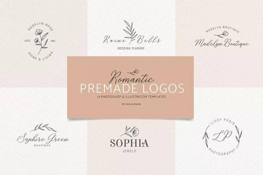 Logotipos prefabricados femeninos románticos EPS PSD