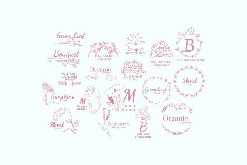 Plantillas de diseño de logotipos vectoriales florales EPS