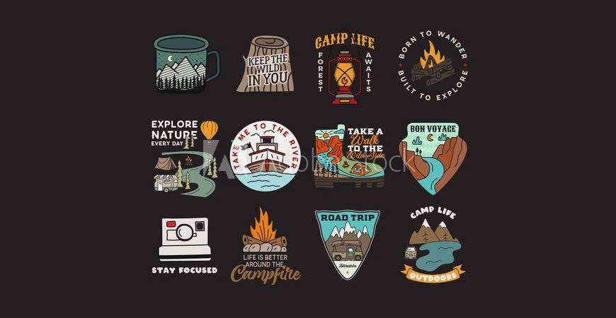 Plantilla de kit de creador de logotipos Vintage Badges