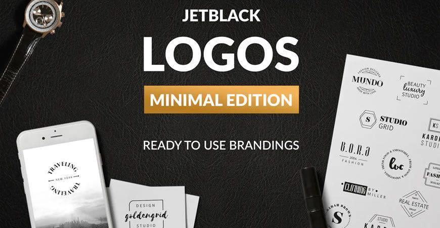 Plantilla de kit de creador de logotipos mínimos prefabricados
