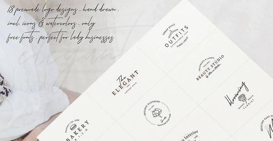 Plantilla de kit de creador de logotipos muy femeninos