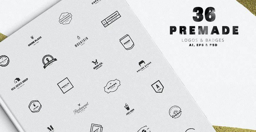 La plantilla del extenso kit de creación de logotipos