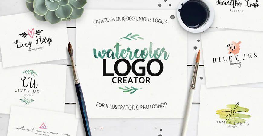 Plantilla de kit de creador de logotipos de acuarela