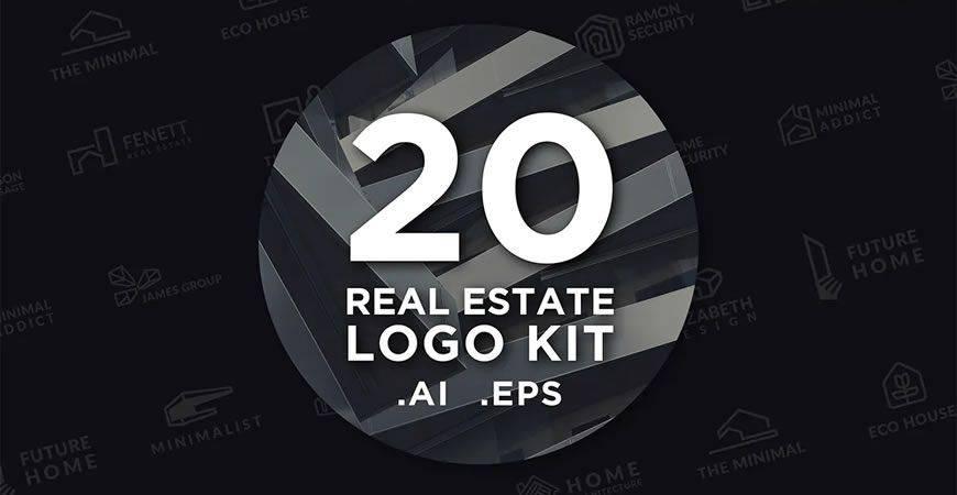 Plantilla de kit de creador de logotipos inmobiliarios