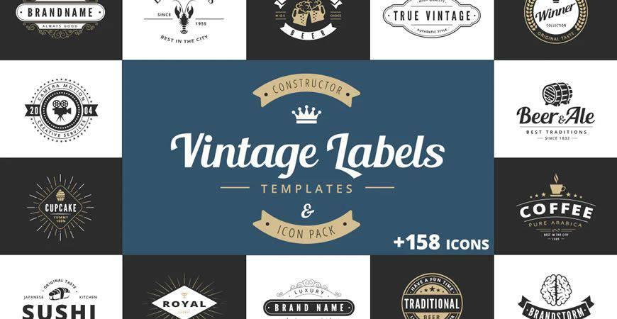 Plantilla de kit de creador de logotipos Vintage Labels