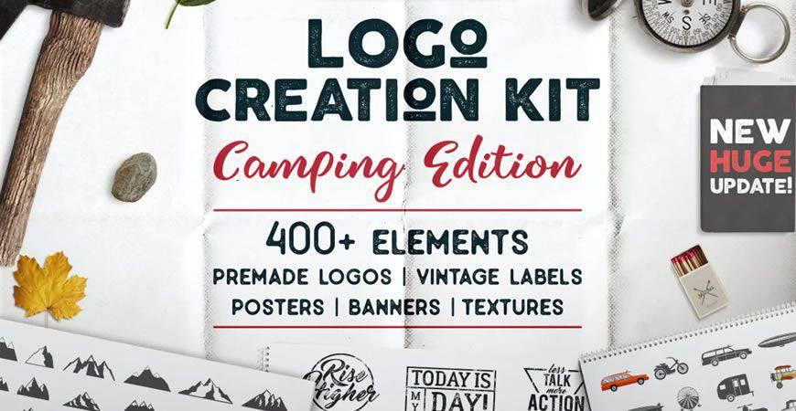 Plantilla de kit de creador de logotipos de plantilla de logotipo de camping