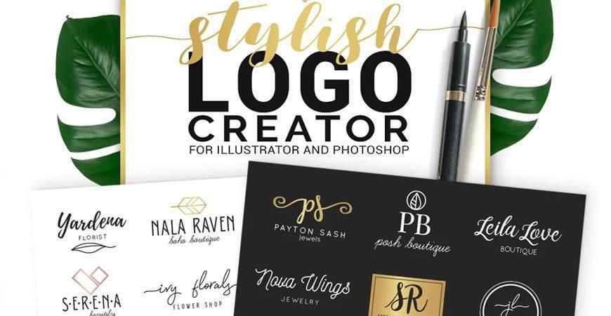 Plantilla de kit de creador de logotipos con estilo