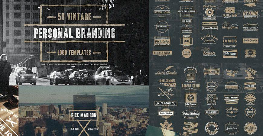 Plantilla de kit de creador de logotipos vintage