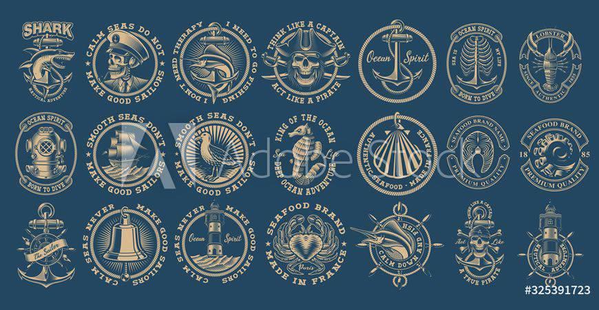 Plantilla de kit de creador de logotipos náuticos vintage