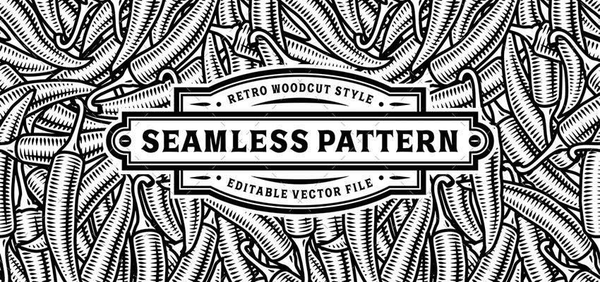 Tutorial de adobe illustrator con patrón de ají blanco negro sin costuras