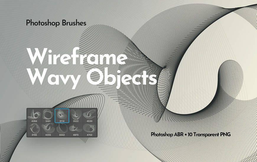 Objetos ondulados de estructura metálica, cinta, remolino, pincel de photoshop gratis