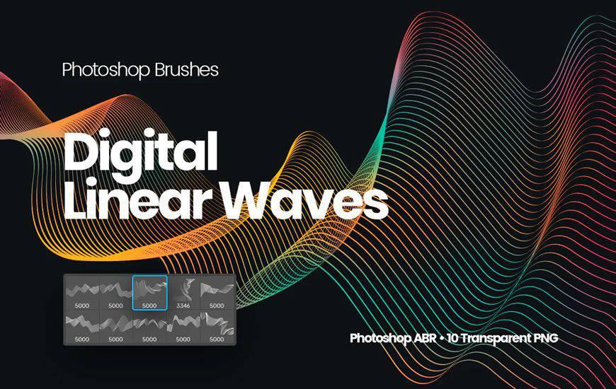 Cepillo de photoshop de remolino de cinta de ondas lineales digitales gratis