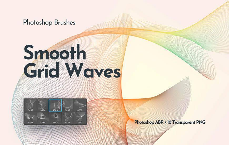 Cepillo de photoshop de remolino de cinta de ondas de red que fluye gratis