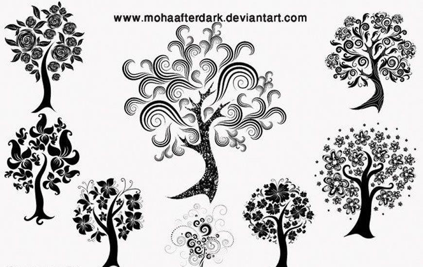Cepillo de photoshop de remolino de cinta de árboles decorativos gratis