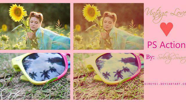 Photoshop de acción de amor vintage