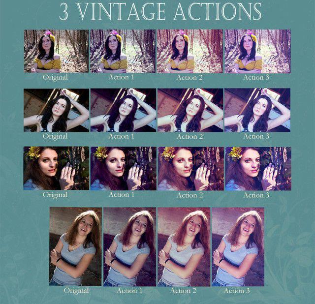 Conjunto de acción vintage Photoshop