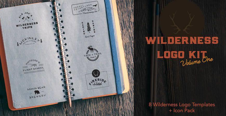 Plantilla de kit de creador de logotipos de Wilderness