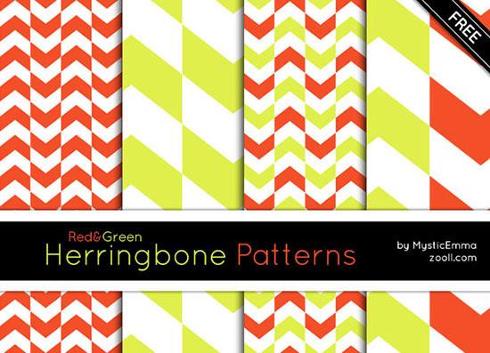 Vista previa de los patrones de espina de pescado rojo y verde