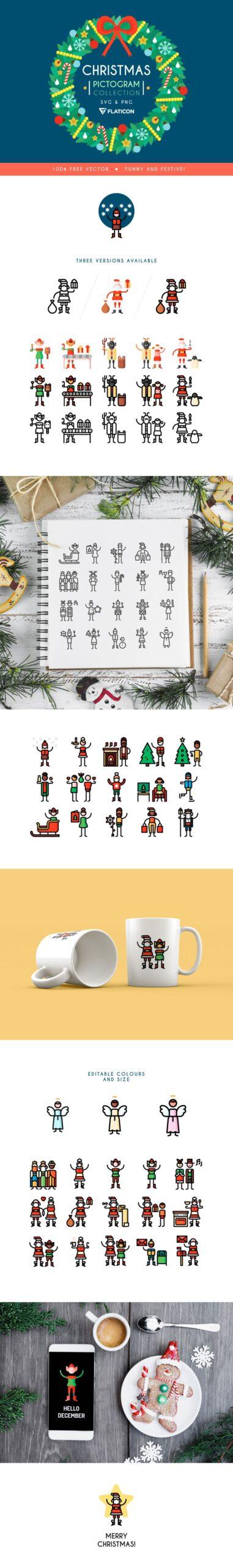 colección gratuita de pictogramas navideños